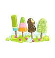 Ice Cream And Frozen Fruit Trees Fantasy Candy vector image vector image