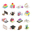 isometric college education icon school vector image vector image