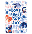 love peace and joy greeting card woodland vector image vector image