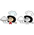 lurking woman chef with meal vector image vector image
