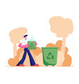 man carry bag with recycle sign plastic bottles vector image vector image