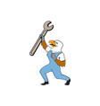 Mechanic Bald Eagle Spanner Standing Cartoon vector image vector image