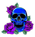 old school rose tattoo with skull traditional vector image vector image