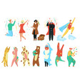 party costumes people set happy men and women vector image