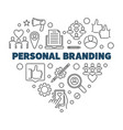 personal branding heart concept thin line vector image vector image