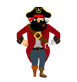 pirate isolated eye patch and smoking pipe vector image