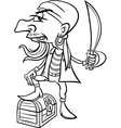pirate with treasure for coloring book vector image vector image