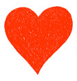 red heart sketch drawing vector image vector image