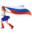 russian woman fan holding flag beautiful girl vector image vector image
