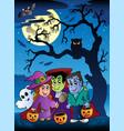 scene with halloween tree 3 vector image vector image