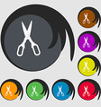 Scissors icon Symbols on eight colored buttons vector image