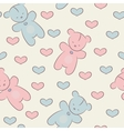 Seamless pattern with teddy bears and hearts vector image vector image