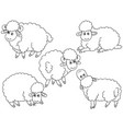 set cute cartoon sheep vector image vector image