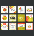 set of artistic creative autumn sale cards hand vector image vector image