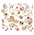 Set of love doodles icons isolated on white vector image vector image