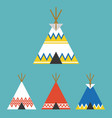 set of tee pee tent of native american vector image
