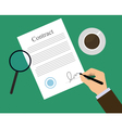 Signing contract coffe vector image
