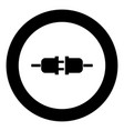 socket and plug icon black color in circle round vector image vector image