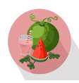 summer fruits watermelon and smoothie vector image vector image
