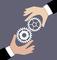 Two businessman hands with gears vector image