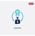 two color donation icon from crowdfunding concept vector image