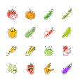 vegetables icons - tomato cucumber and chili vector image