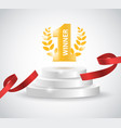 winner background with red ribbon on round vector image vector image