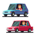 young happy man and woman driver driving cars flat vector image vector image