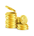3d realistic stack of gold coins vector image