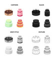 a festive cake and other types of dessert cakes vector image vector image