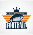 american football logo template design vector image vector image