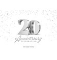 anniversary 20 silver 3d numbers vector image vector image