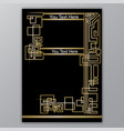 art deco template golden-black a4 page menu vector image vector image