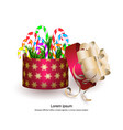 christmas gift box with candies on white vector image vector image