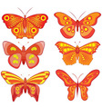 color set of colored butterflies vector image vector image