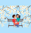 couple sit on bench surrounded with cherry blossom vector image vector image