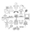 cradle icons set outline style vector image vector image