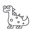cute dinodinosaur line icon sig vector image