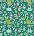 Easter rabbit in spring garden seamless pattern vector image