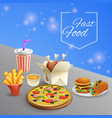 fast food cartoon vector image vector image