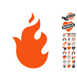 fire icon with lovely bonus vector image vector image