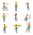 flat set of painters with equipment brush vector image vector image