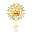 funky cartoon style summer sun character vector image vector image