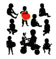 happy funny kid silhouettes vector image vector image