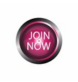 Join now icon glossy pink button isolated vector image vector image
