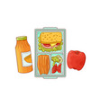 lunchbox with school lunch - sandwich with vector image vector image