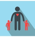 Man with two children silhouette flat icon vector image vector image