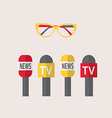 microphones journalism live news news vector image