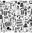 Music symbols funny hand drawn seamless pattern vector image