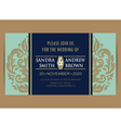 navy blue wedding vintage card vector image vector image